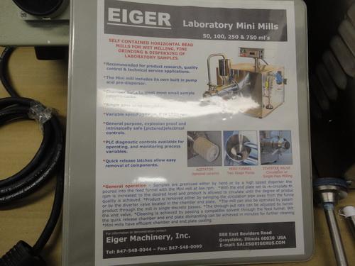 Eiger SS horizontal lab/pilot media mill, Model 250-VSE-EXP, S/N 10135 - Image 8 of 17