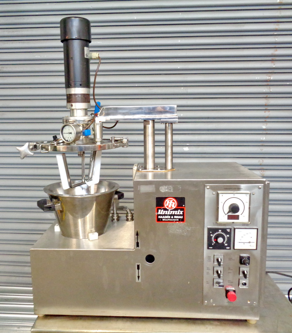 Haagen Rinau (Ekato) 1 gallon SS Vacuum/Jacketed Lab Process Mixer, Model Unimix, S/N 866-3276