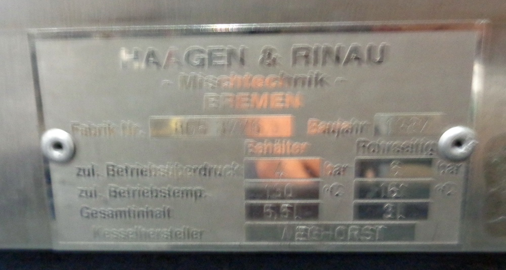 Haagen Rinau (Ekato) 1 gallon SS Vacuum/Jacketed Lab Process Mixer, Model Unimix, S/N 866-3276 - Image 10 of 10