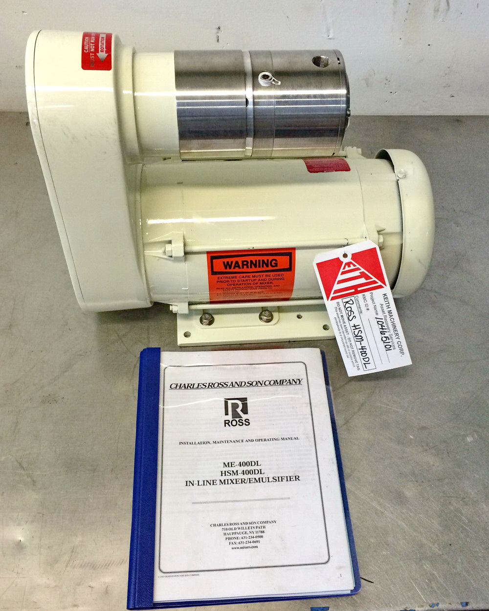New/Unused Ross Lab Size Inline Rotor/Stator High Shear Mixer, Model HSM-400DL S/N 105004
