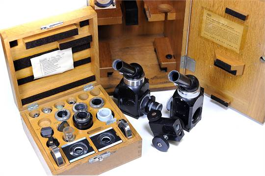 Various carl zeiss jena microscope parts in makers case