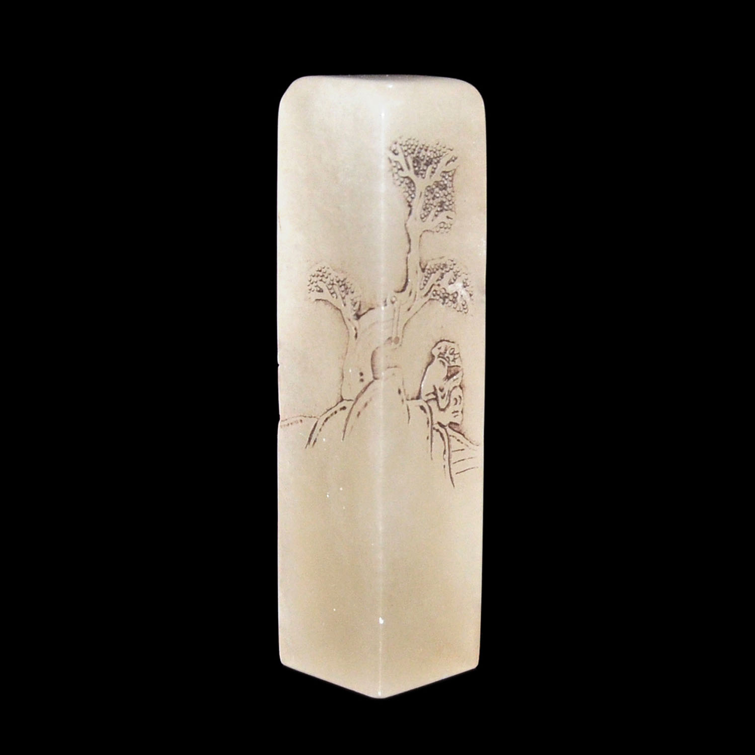 Lot 35 - 芙蓉石荔枝凍浮雕林下高士方章 Translucent Furong Stone Columnar Seal Carved with Scholar  Height: 4⅞ in (12.4 cm)
