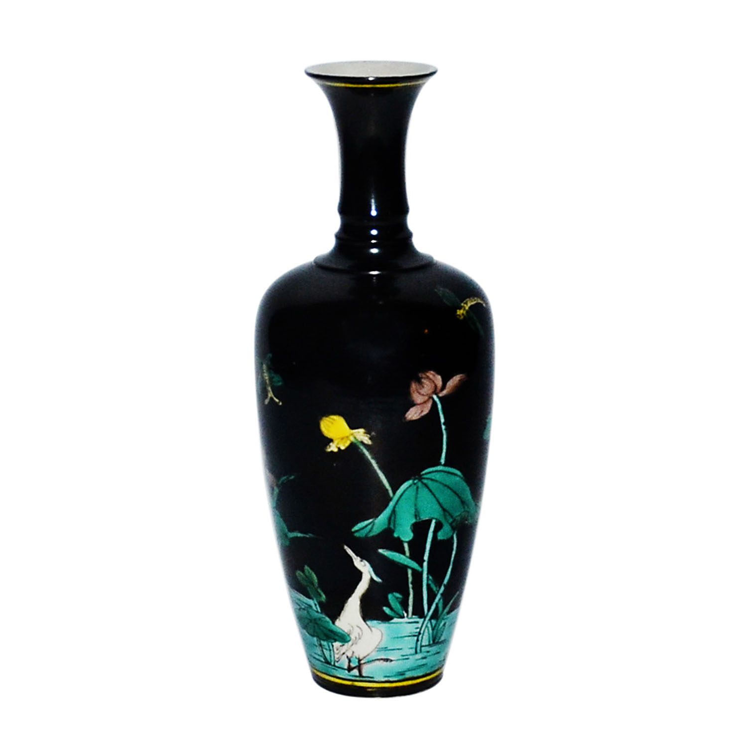 "Lot 252 - 墨釉素三彩""一路(露)榮華""觀音瓶 A Black Ground Sancai Bottle Vase with Auspicious Crane and Lotus  Height: 7½"
