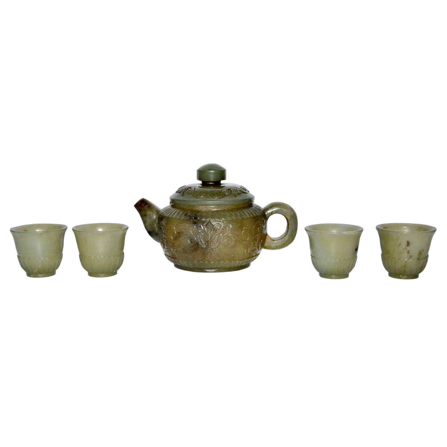 Lot 44 - 玉浮雕牡丹壺四酒杯一套五件 A Set of Jade Carved Peony-Lappet Wine Pot with Four Cups  Height: 3 in (7.6 cm), 1¼