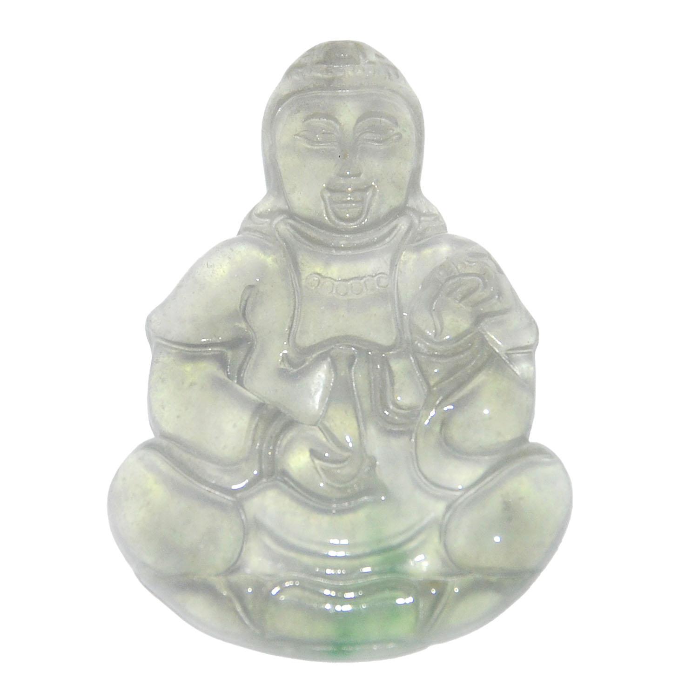 Lot 8 - 翡翠玻璃冰種觀音坐蓮掛飾 Ice Jadeite Pendant Guanyin Seated on Lotus  Height: 2 in (5.1 cm) Weight: 18 g
