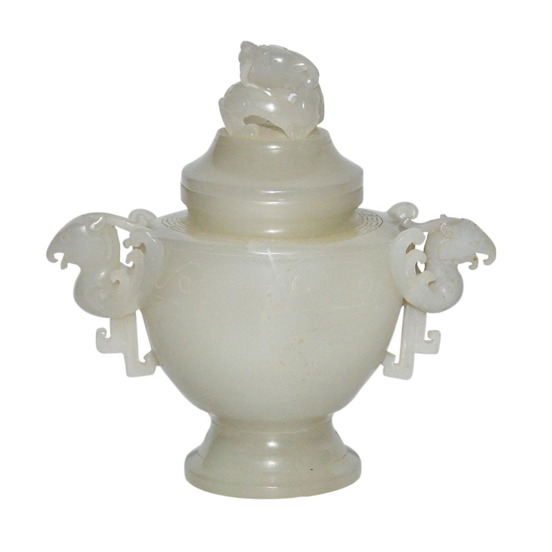 Lot 18 - 玉雕龍鈕鳳耳蓋尊 A Jade Dragon-Phoenix Zun with Cover Of compressed globular form, flanked by phoenix-head