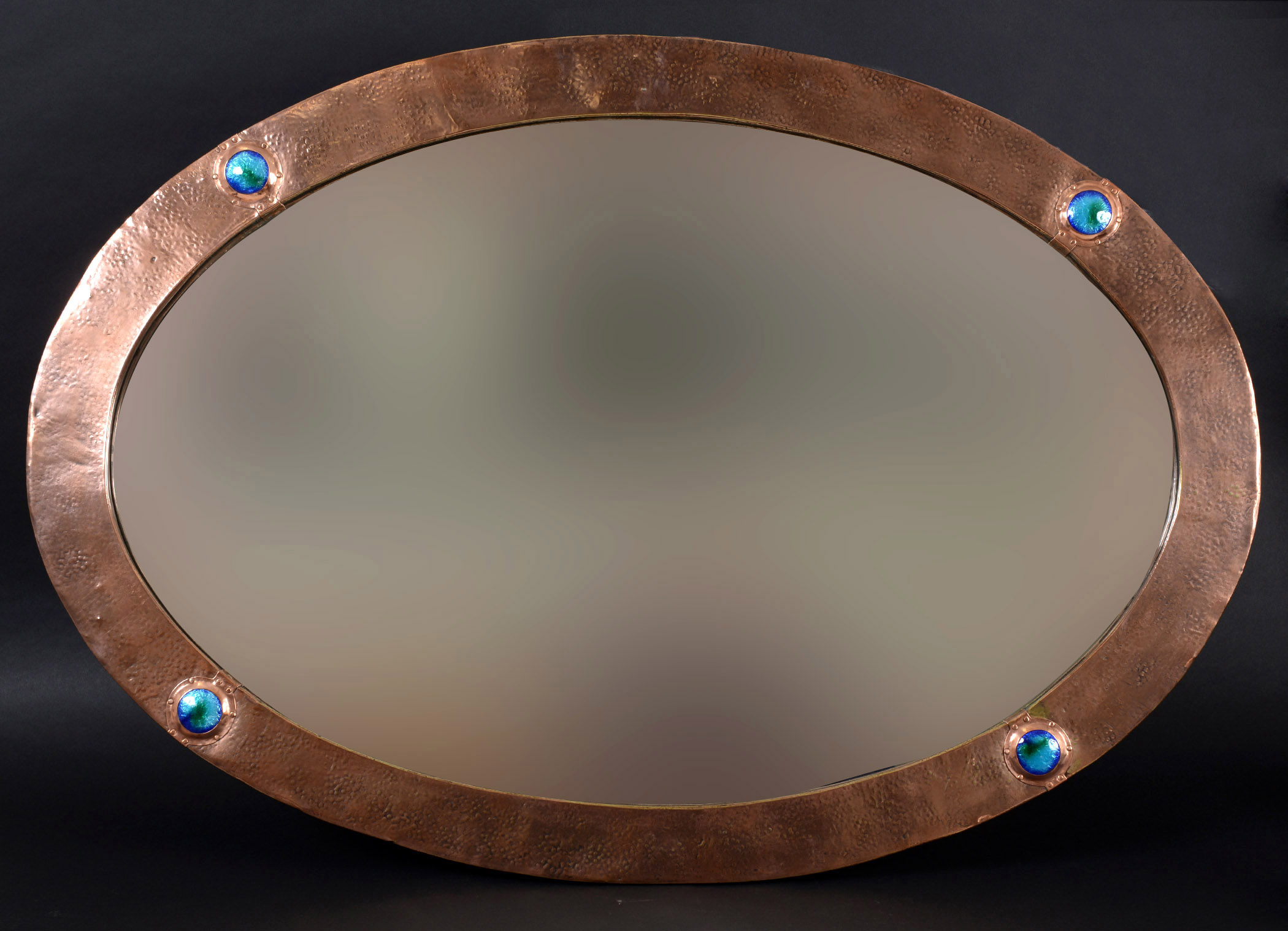 Arts and crafts mirrors - Lot 1304 Large Arts Crafts Mirror A Large Oval Copper Mirror With A