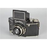 An Ihagee Exakta A Type 4.1 Camera, black, serial no. 488032, with Carl Zeiss Jena Tessar f/3.5 75mm
