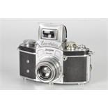 An Ihagee Kine Exakta 1 Camera, chrome, serial no. 518571, with Carl Zeiss Jena Tessar f/2.8 50mm