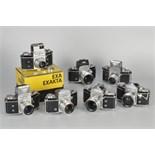 Ihagee Exakta Varex Cameras: a selection of the Exakta Varex IIA cameras, with various of finders