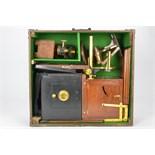 A Large Folding Mahogany Scientific Lantern, by Reynolds & Branson, with Newton microscope