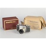 An Ihagee Exakta Varex IIA Dummy Model, chrome, serial no. A099, with Jena f/2.8 50mm lens,