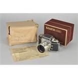 An Ihagee Exakta Varex IIA Dummy Model, chrome, serial no. A135, with Jena f/2 58mm lens, chrome,