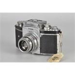 An Ihagee Kine Exakta 1 Camera, pre-war round finder, chrome, serial no. 482536, with Schneider