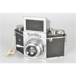 An Ihagee Exakta B Type 5.2 Camera, chrome, serial no. 544196, with Ihagee-Anastigmat Exaktar f/3.