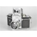 An Ihagee Kine Exakta 1 Camera, chrome, serial no. 610749, with Carl Zeiss Jena Biotar f/2 58mm