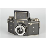 An Ihagee Exakta B Type 4.1 Camera, black, serial no. 423986, with Ihagee-Anastigmat Exaktar f/3.5