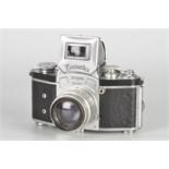 An Ihagee Kine Exacta 1 Camera, chrome, serial no. 615694, with Carl Zeiss Jena Biotar f/2 58mm