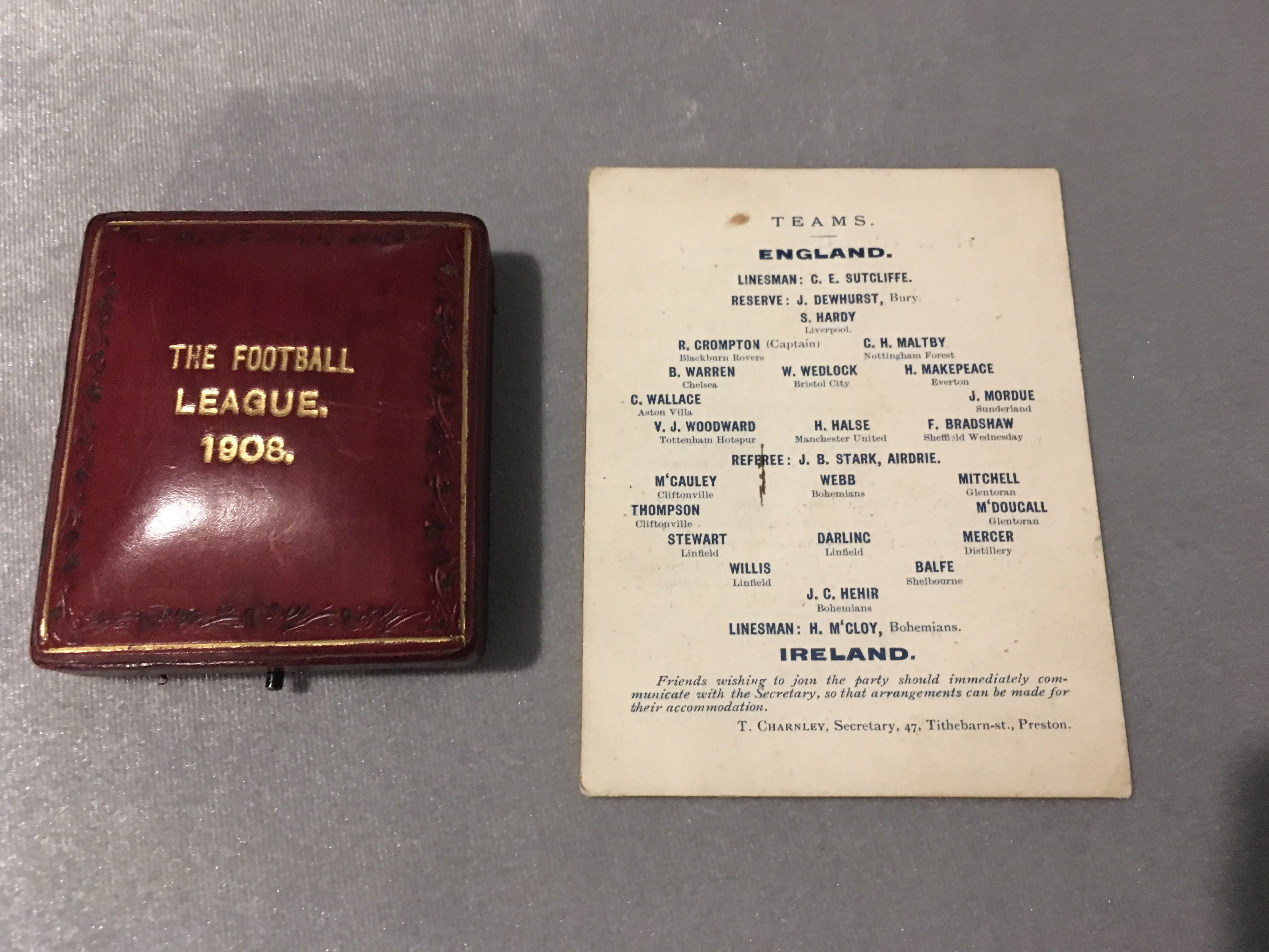 1908 England Football League Medal + Itinerary: Superb gold Vaughons medal in original box. The rear - Image 2 of 3