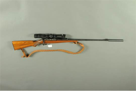 A Brno Model 2  22 LR bolt action rifle, fitted with a