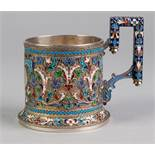 A FINE IMPERIAL RUSSIAN SILVER (84 zolotniks purity) PARCEL GILT AND CLOISONNE ENAMEL MUG, the