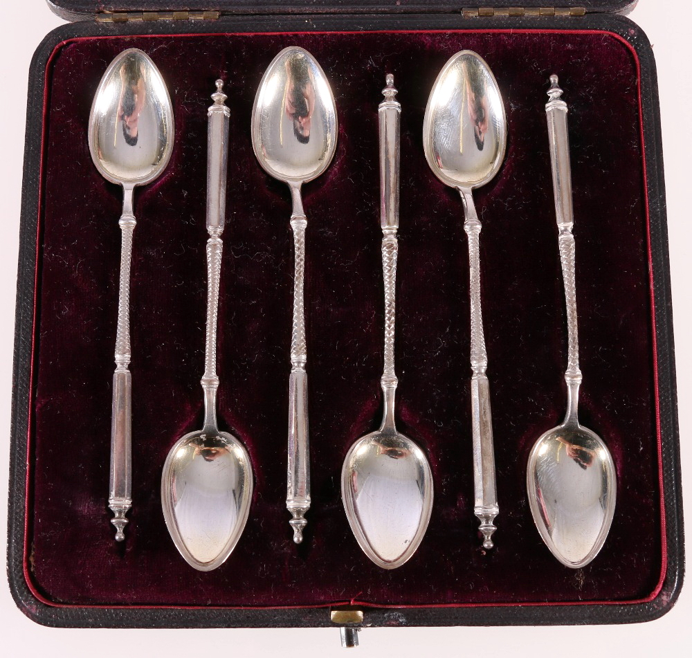 Lot 8 - Set of six Victorian silver coffee spoons with tapered hexagonal stems,