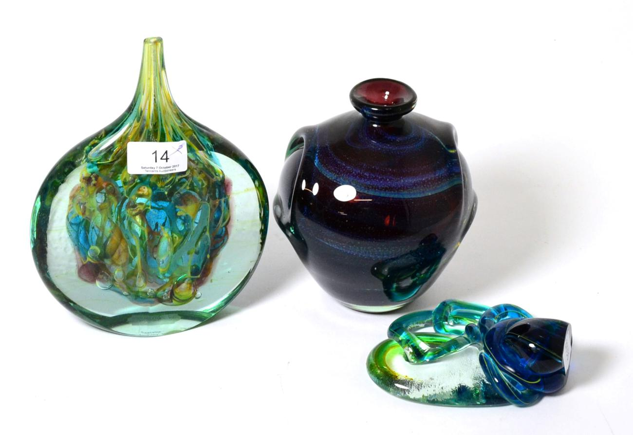 Lot 14 - A Mdina glass slab vase signed ''Michael Harris, Mdina Glass Malta'', and two other pieces, one