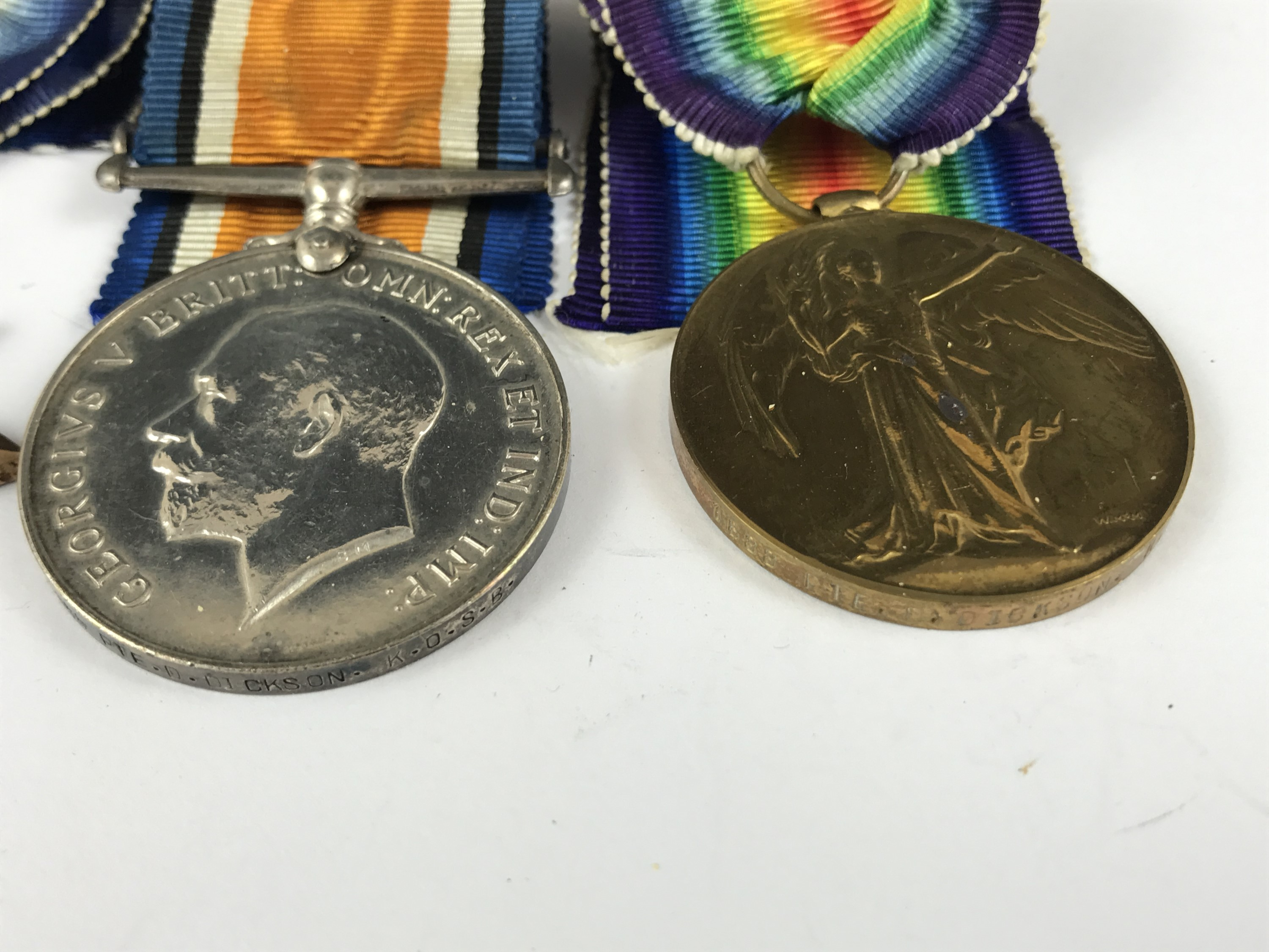 Lot 14 - A 1914-15 Star, British War and Victory medals to 1688 Pte D Dickson, KOSB