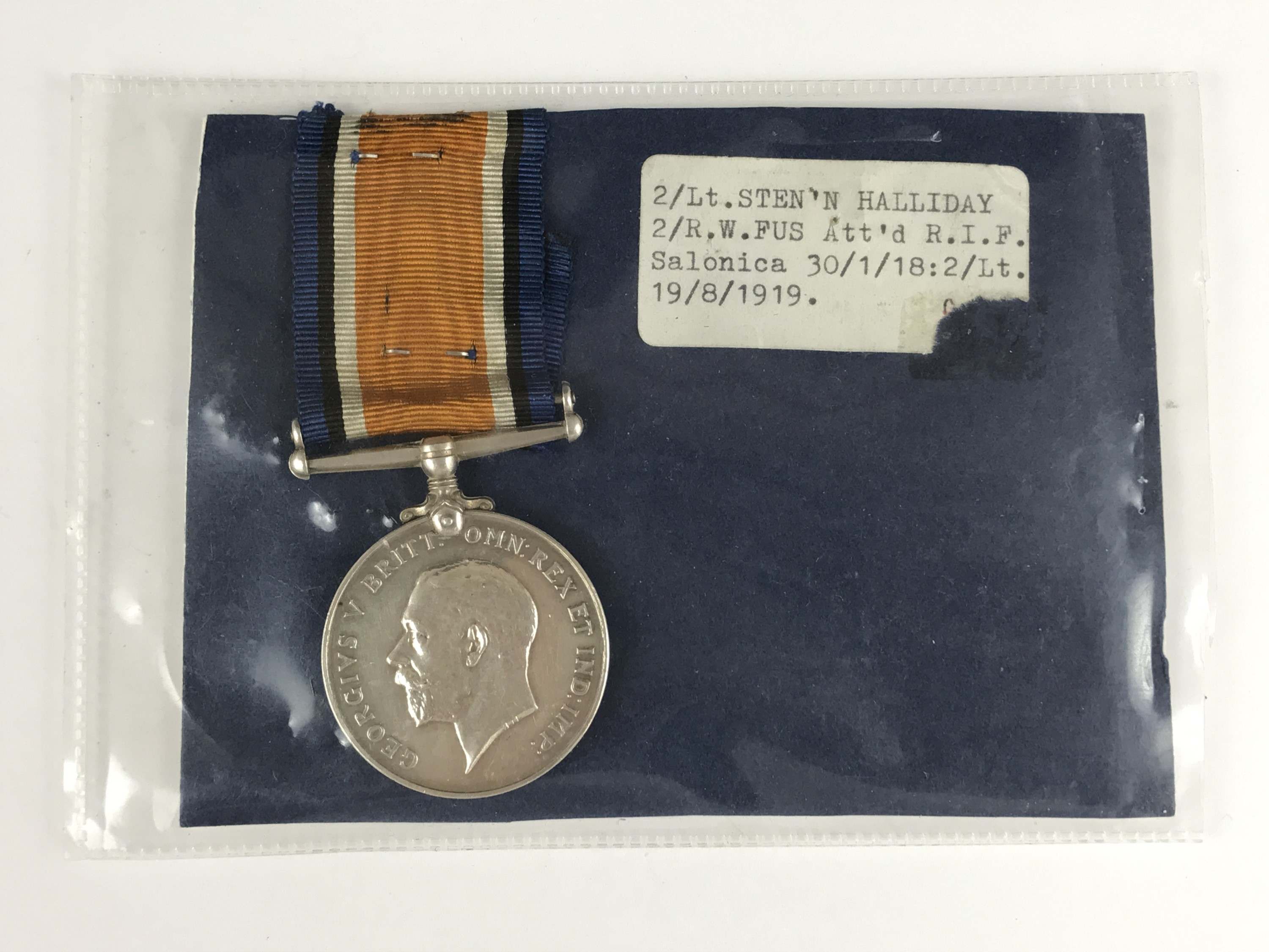 Lot 35 - A British War medal to 2 Lieut S Halliday