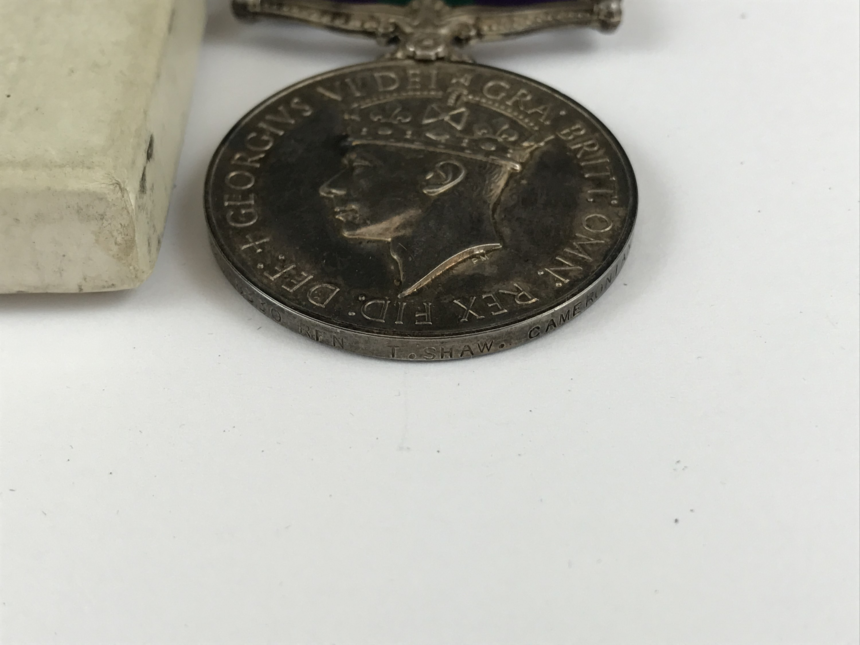 Lot 26 - A George V General Service Medal with Malaya clasp to 22648330 Rfn T Shaw, Cameronians, in carton