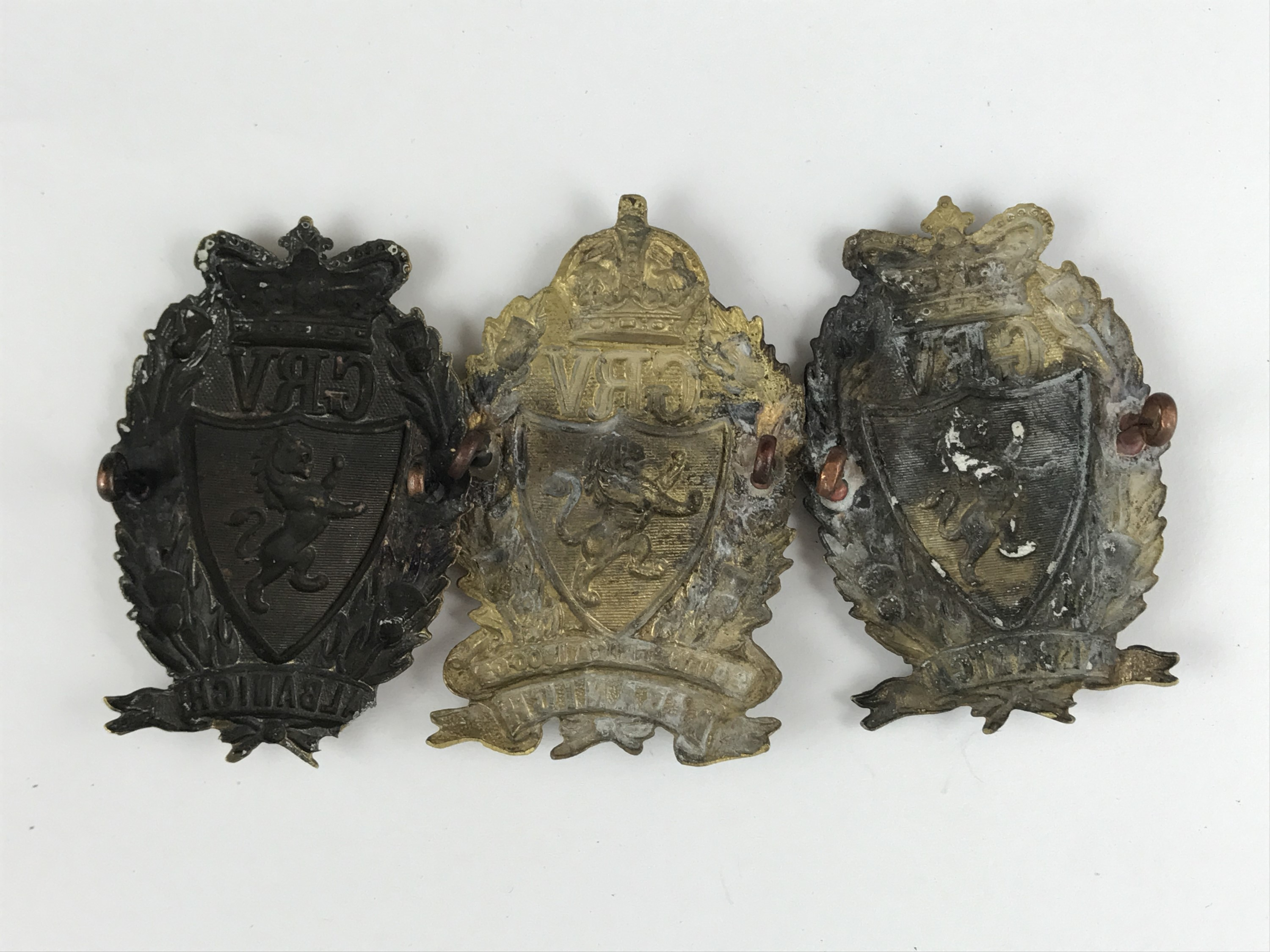 Lot 59 - Three Galloway Rifle Volunteers cap badges