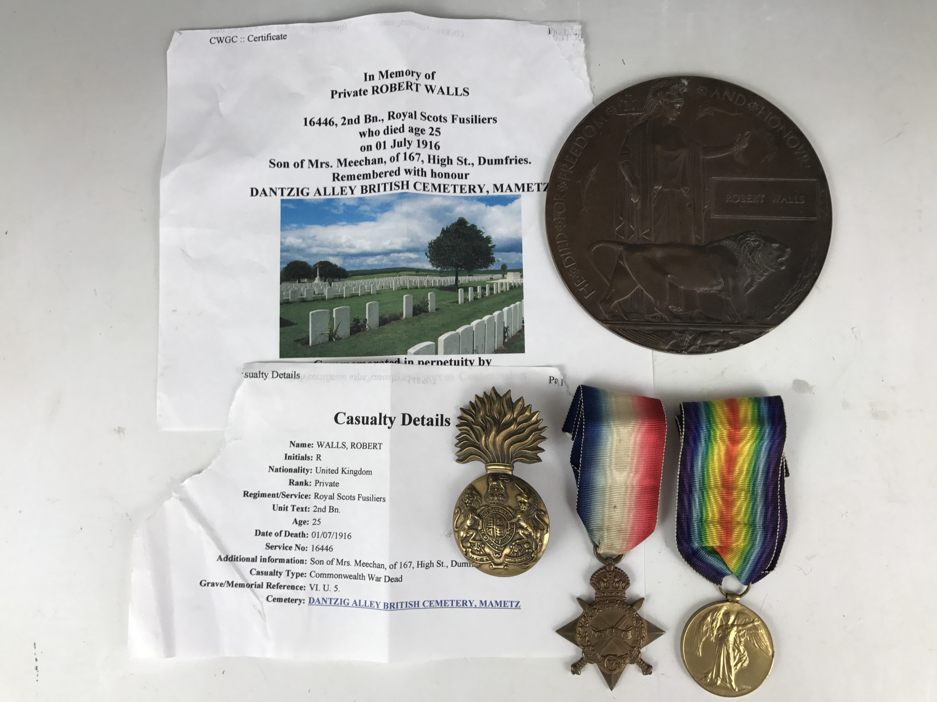 Lot 10 - A Great War first day of the Battle of the Somme casualty medal group comprising 1914-15 Star,