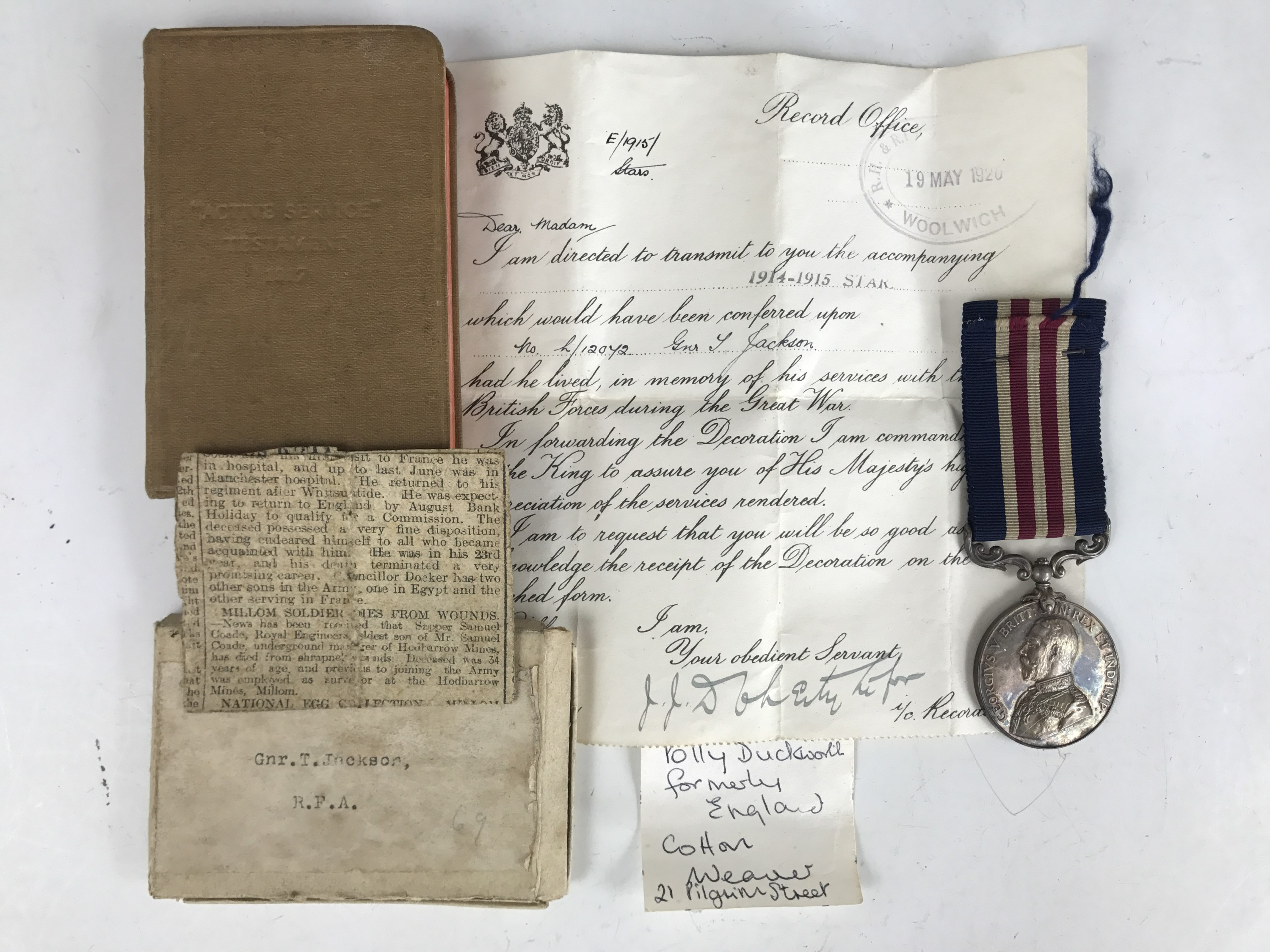 Lot 1 - A Great War Military Medal to L-12072 Gunner T Jackson, HQ 161 [York] Brigade, RFA, together with