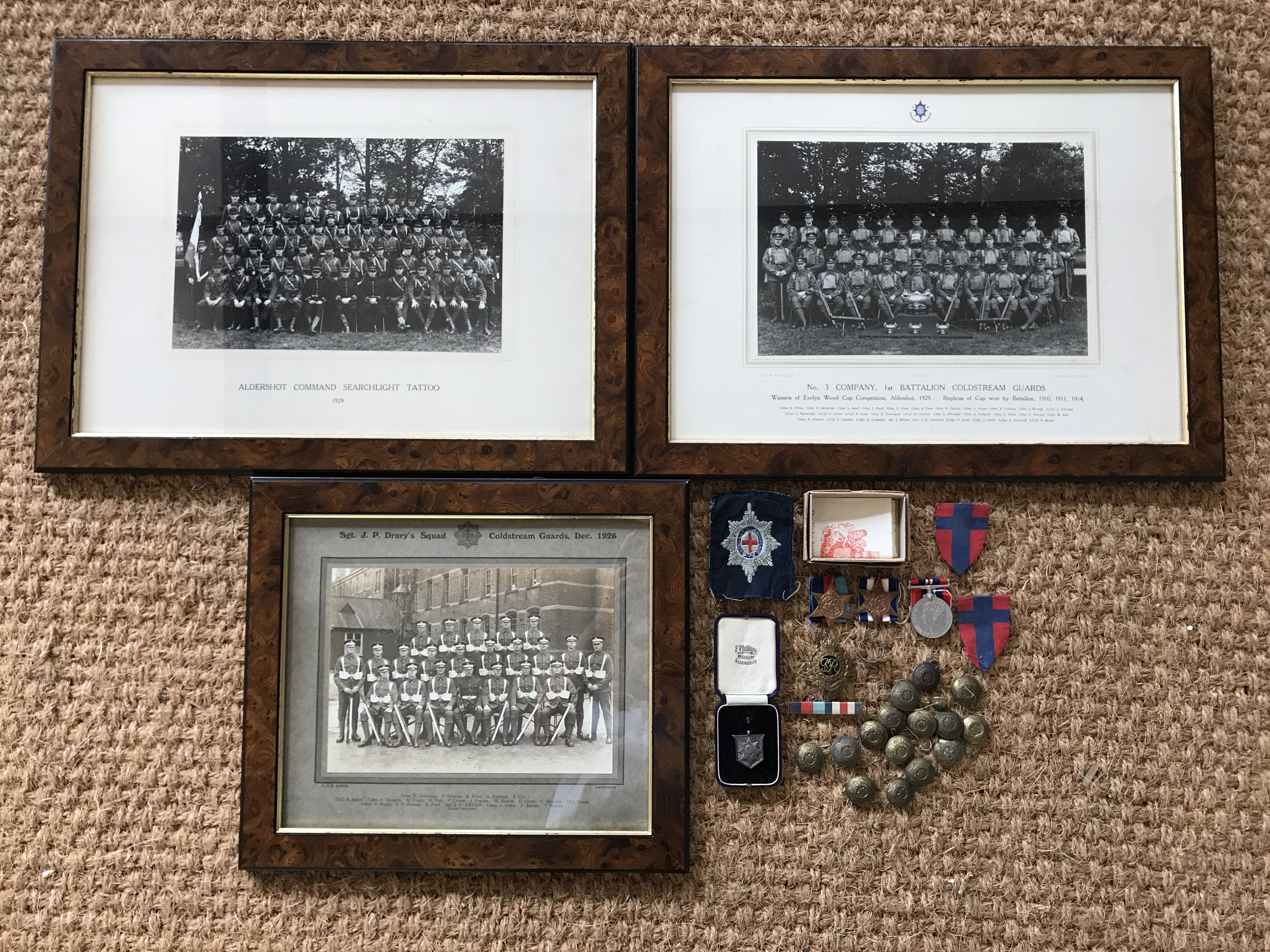 Lot 2 - A Second World War Coldstream Guards / Royal Engineers campaign medal group, including silver finger