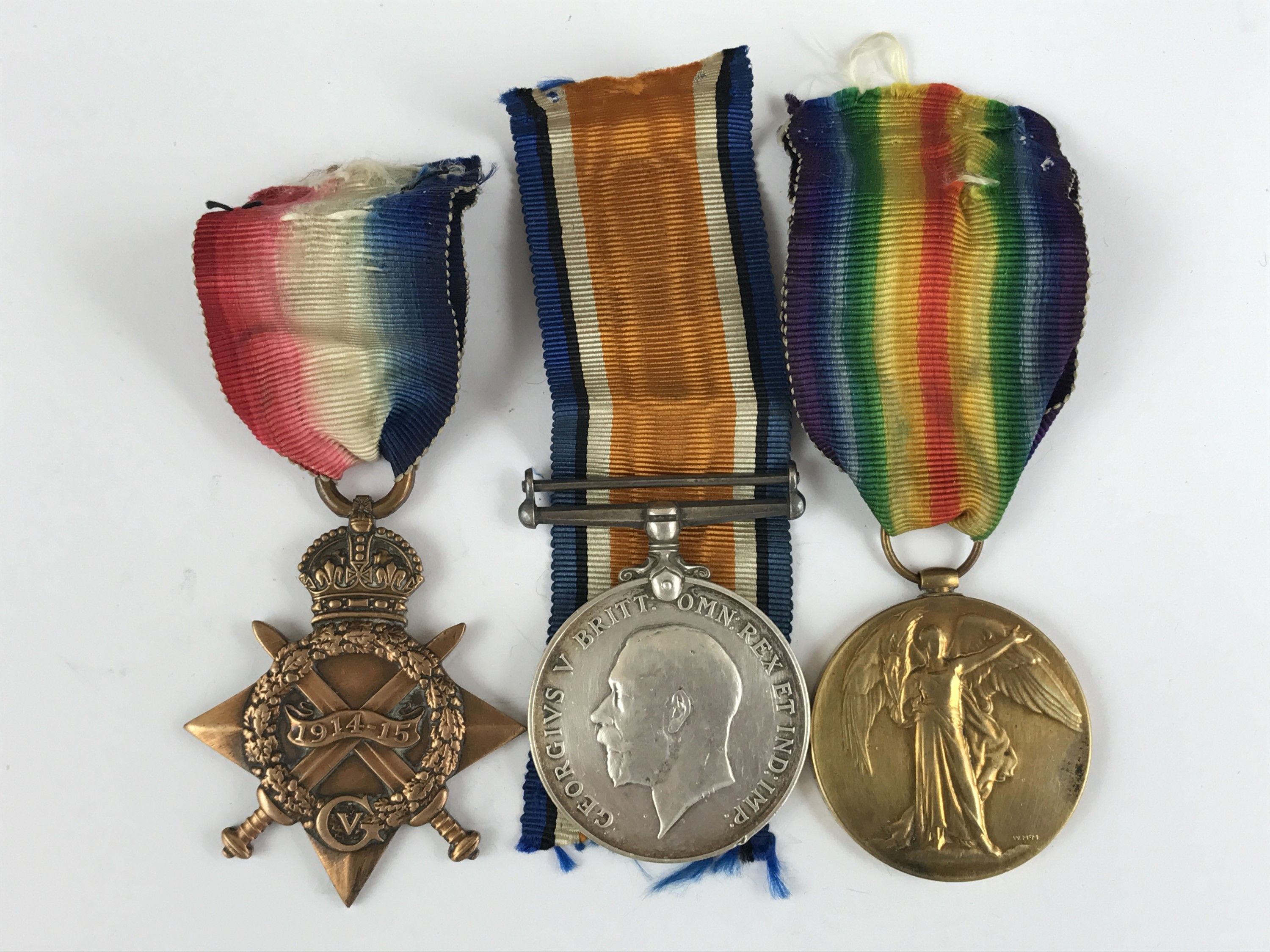 Lot 11 - A 1914-15 Star with British War and Victory medals to 12582 Pte R Sturgeon, KOSB