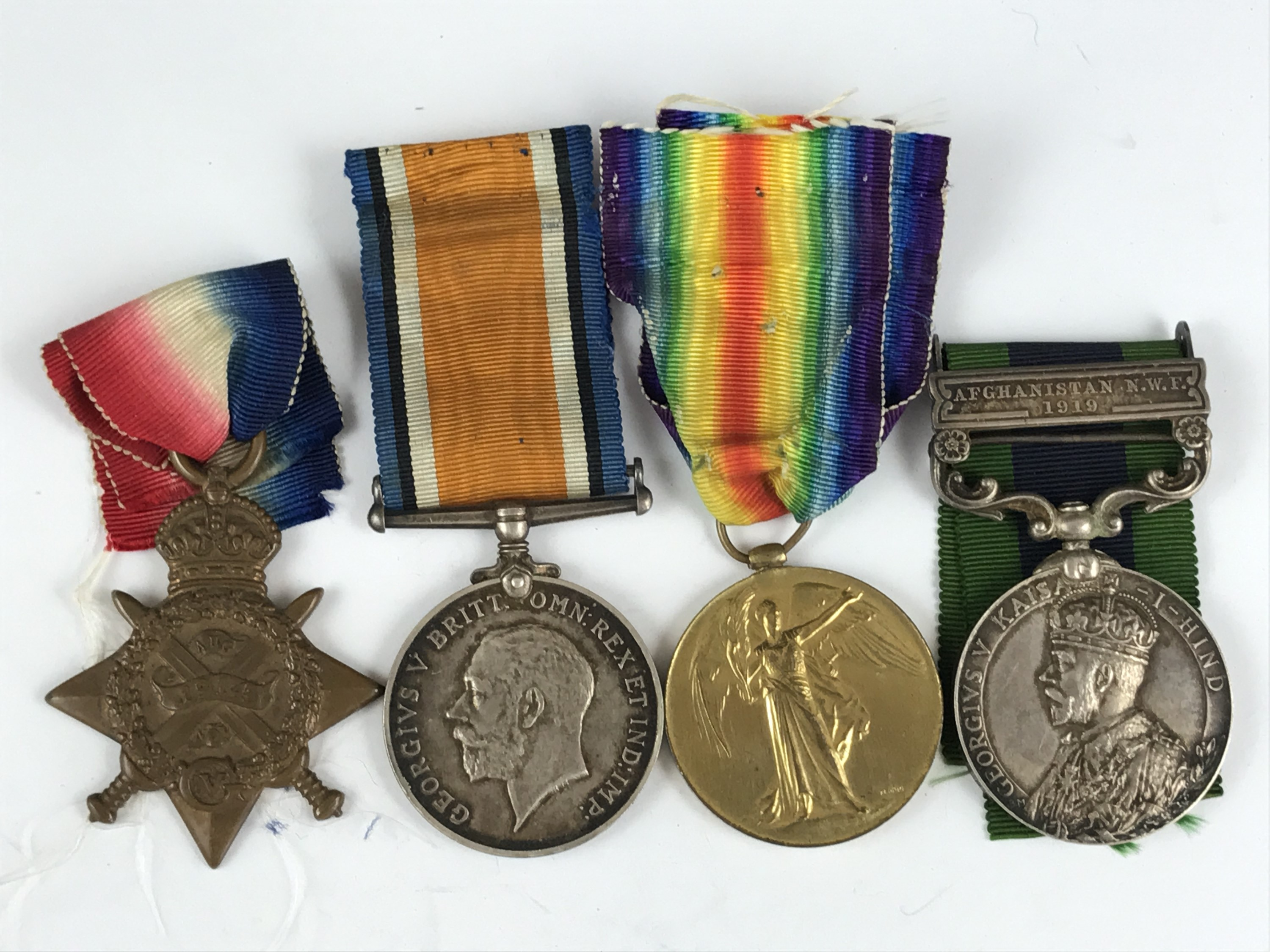 Lot 9 - An India General Service Medal, 1914 Star, British War and Victory medals to 708 Pte E S Boyd, 1st