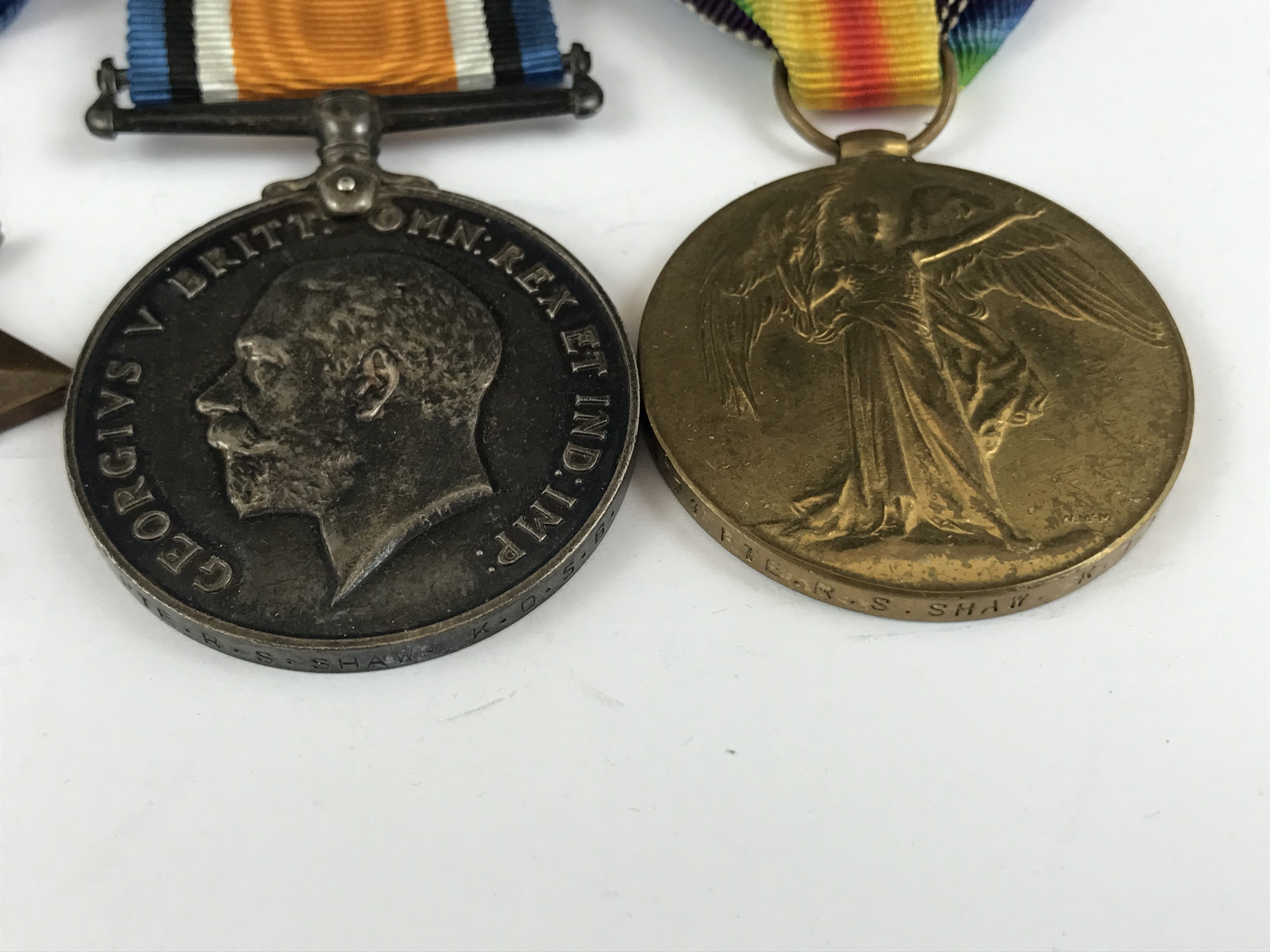 Lot 8 - A 1914-15 Star with War and Victory medals to 4271 Pte R S Shaw, KOSB