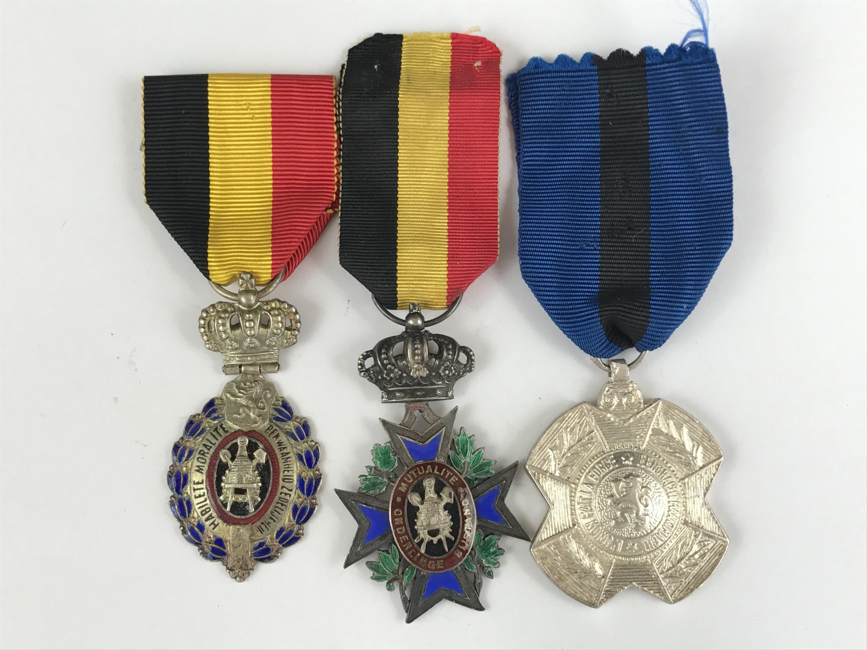 Lot 38 - Three Inter-War Belgian medals, comprising an Order of King Leopold II