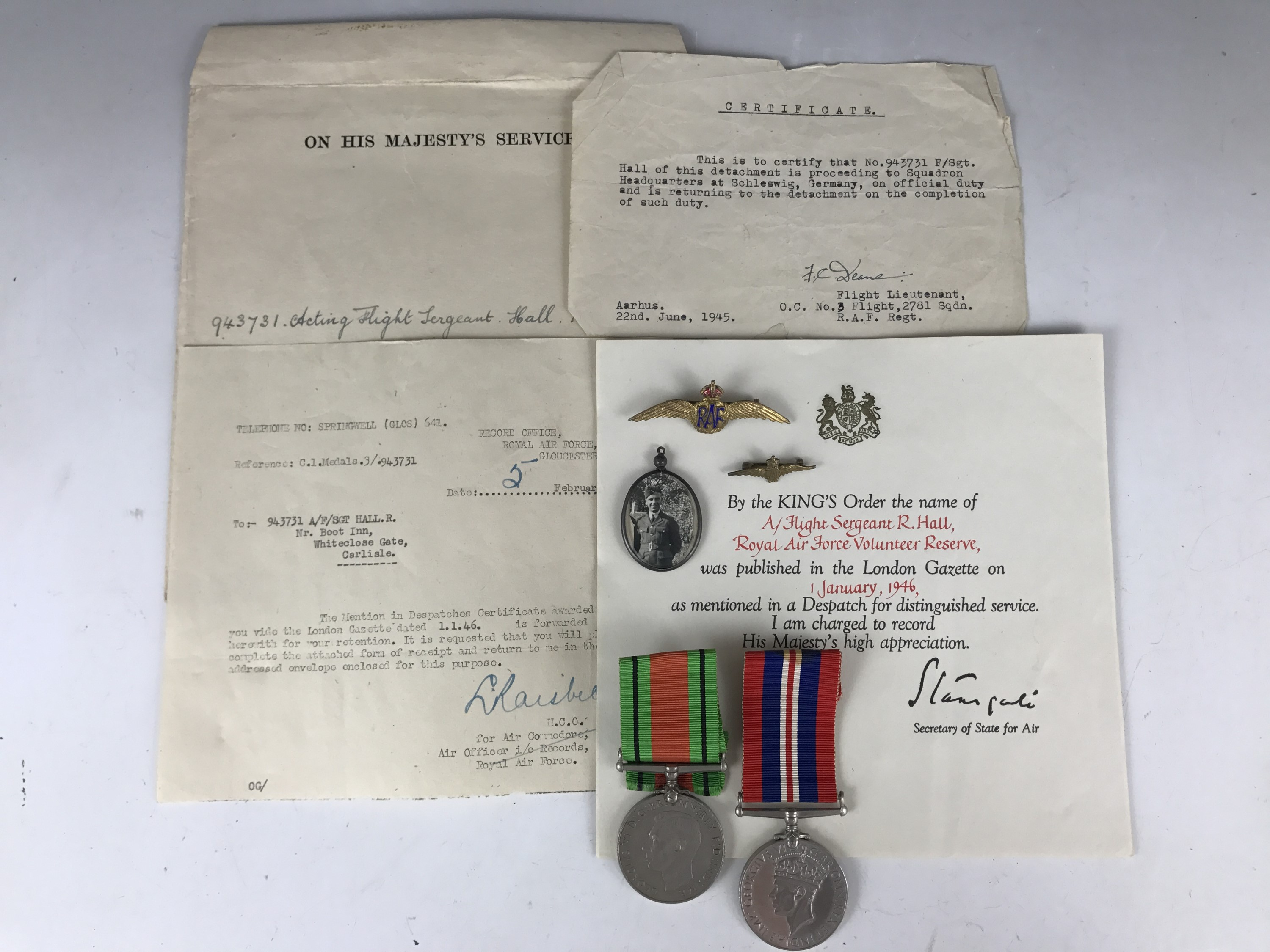 Lot 19 - A 1946 Mention in Despatches award document to Acting Flight Sergeant R Hall, RAF Volunteer Reserve,