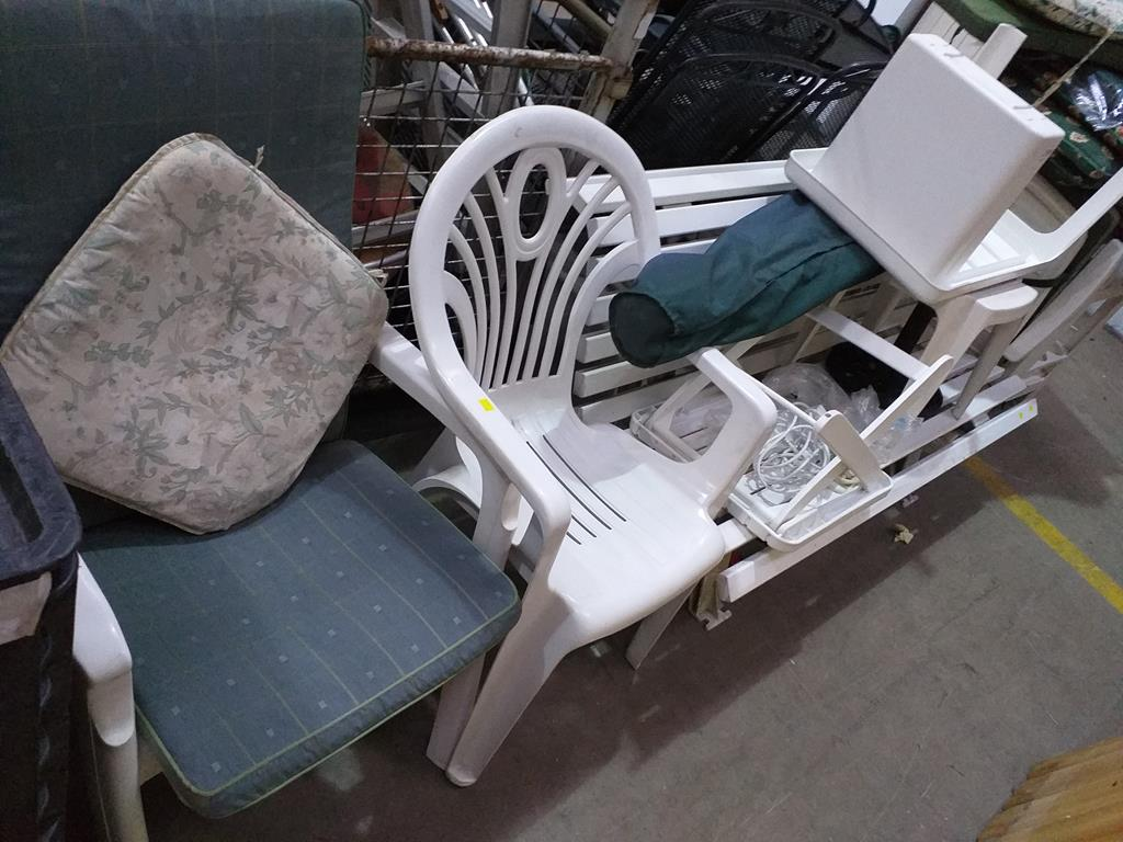 Lot 299 - Plastic Garden Furniture to include Chairs, Bench, Cushions etc.