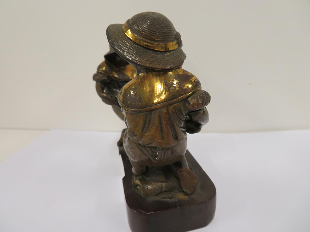 Lot 1060 - Two mounted Bronze (?) Figures on a plinth