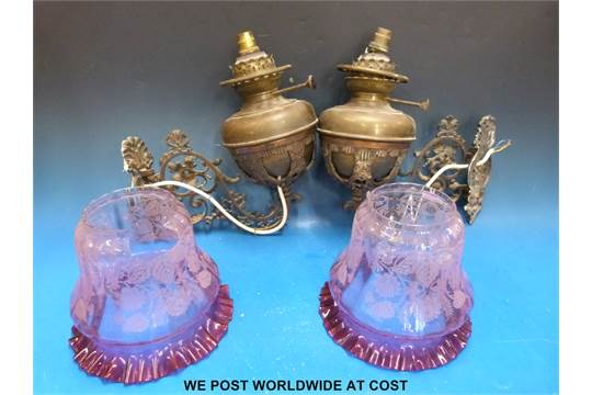 Two Victorian Wall Mounted Oil Lamps Converted To Electric