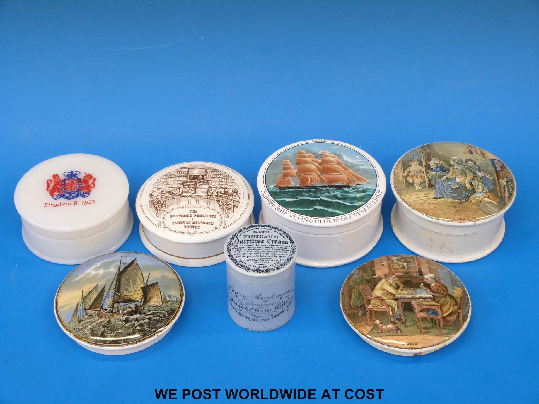 Lot 219 - A collection of pot lids to include a Finigan's of Bath medical pot
