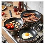 (HZ37) Copper 3 Piece Aluminium Pan Set Made from quality 3.5mm aluminium for even heat distri...