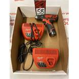 MILWAUKEE 12V Cordless Drill Driver w/ Battery and (2) Chargers