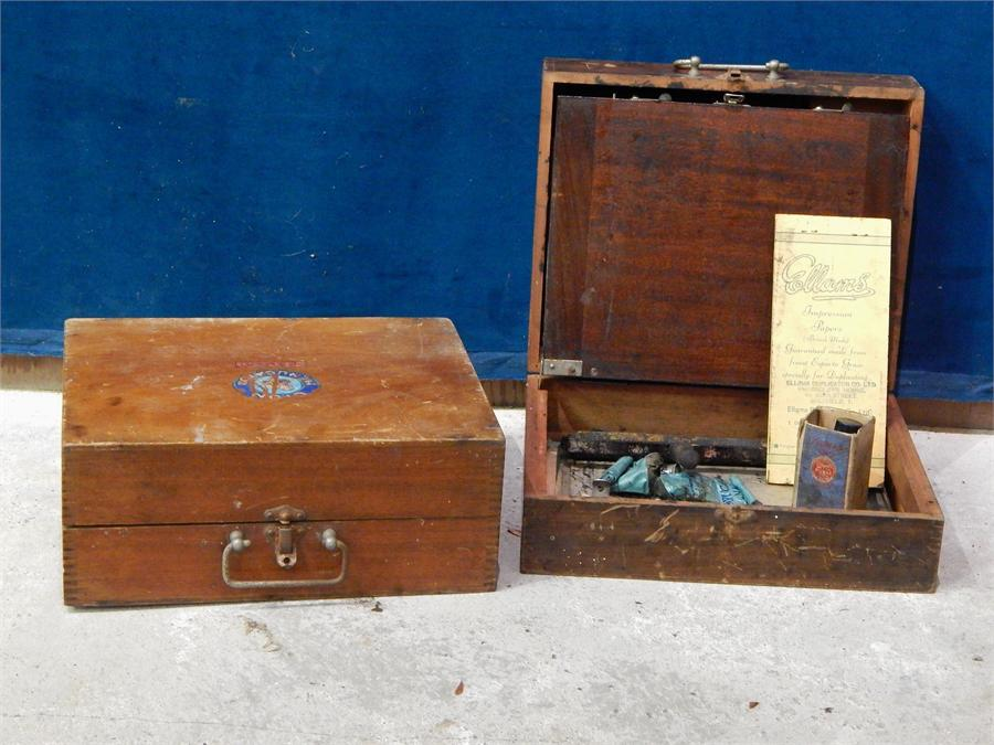 """Lot 32 - Vintage c. 1930`s Ellam`s screen printing set wooden """" distressed """" with some tools and inks."""
