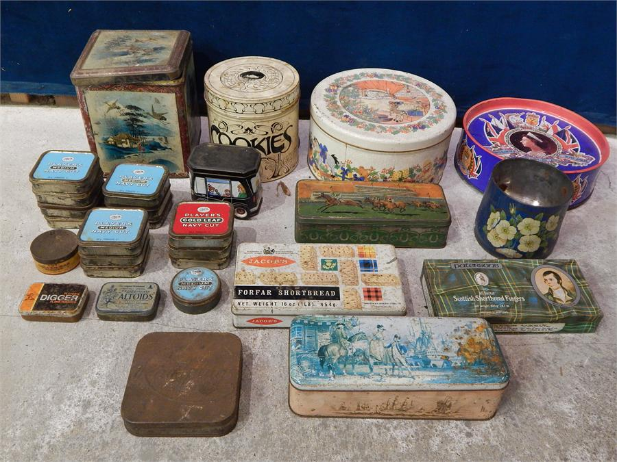 Lot 63 - A group of biscuit and other tins - kitchenalia