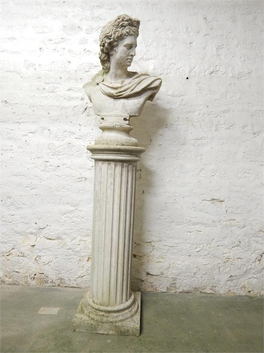 Lot 19 - Classical style bust and column - stone effect resin - Dimensions
