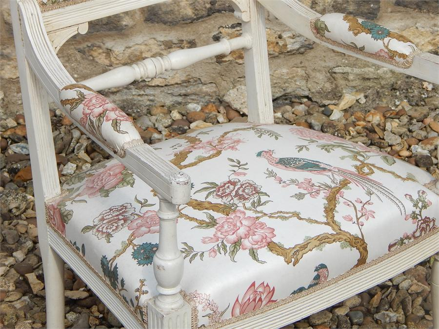 Lot 105 - Pair of French armchairs in original paint, first quarter 20th Century. ~