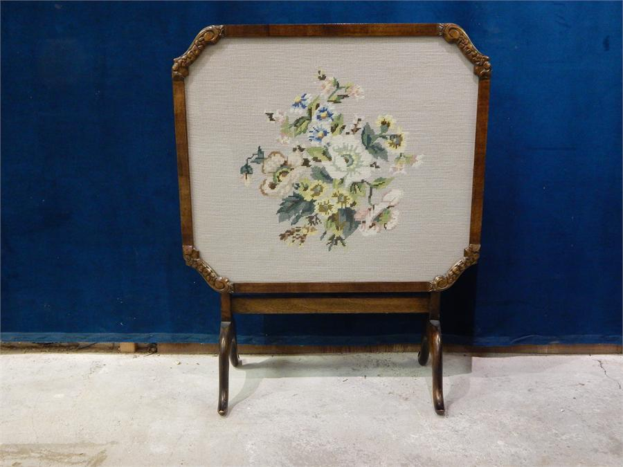 "Lot 86 - 20th Century Embroidered Firescreen / Tilt top Table - Bearing Label for ""The Needlewoman Shop"""